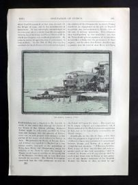Cassell 1902 Antique Print. The Marina, Larnaca, Cyprus